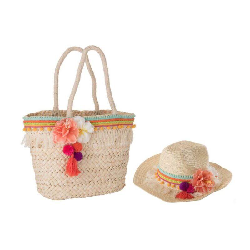 bolso y sombrero de playa